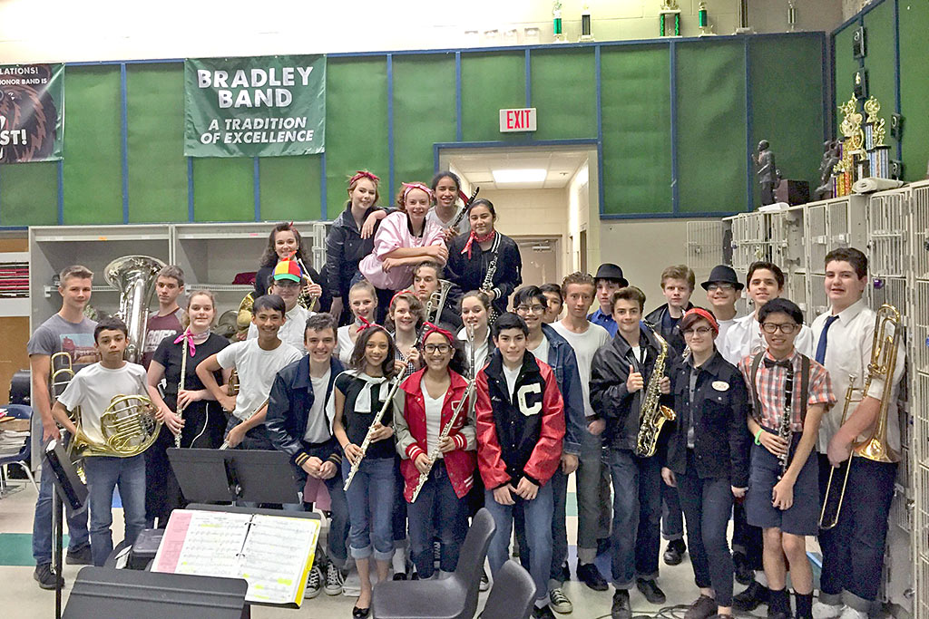 8th Grade Honor Band Students Having Fun on 50s Day - April 7, 2017