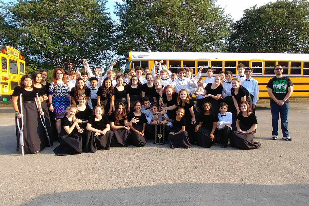 Bradley MS Honor Band with an Oustanding Musicianship Trophy from the TLU Band Festival on May 18, 2017