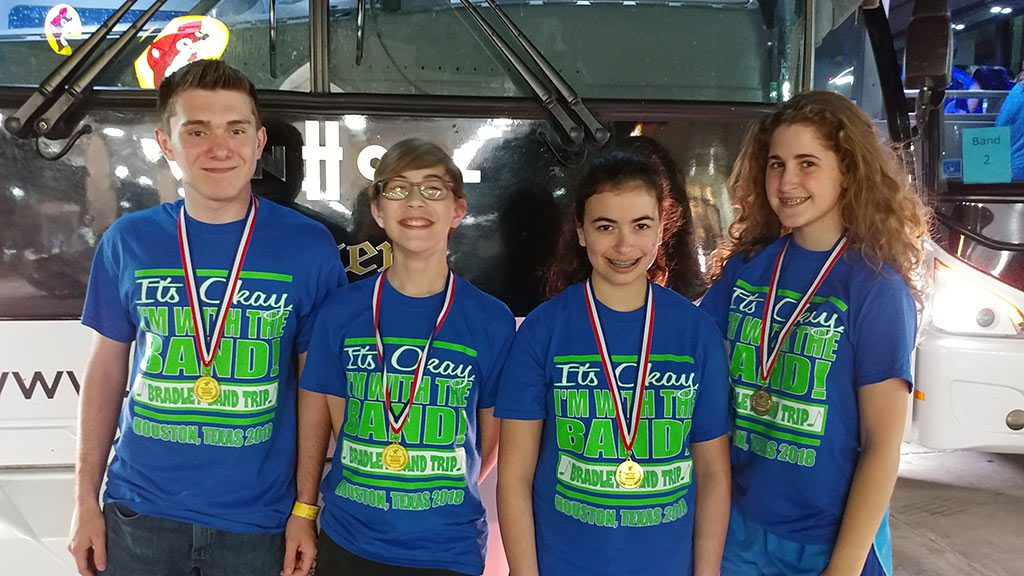 Four Bradley Middle School Honor Band Students received Outstanding Soloist Awards at the Bayou City Classic Festival in Houston, Texas.