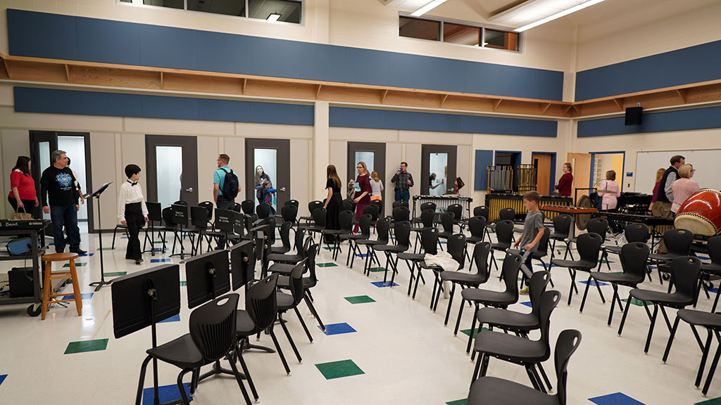 March 19, 2019 - Parents and families check out the New Bradley MS Band Hall after the Pre-UIL Concert