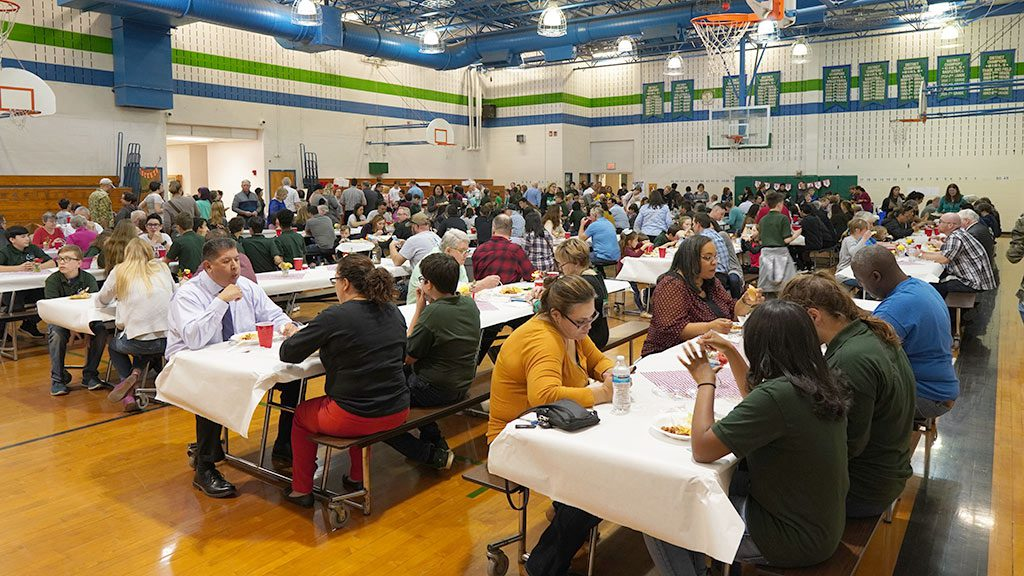 2019-04-01 Parents and families enjoying the Bradley MS Spaghetti Dinner