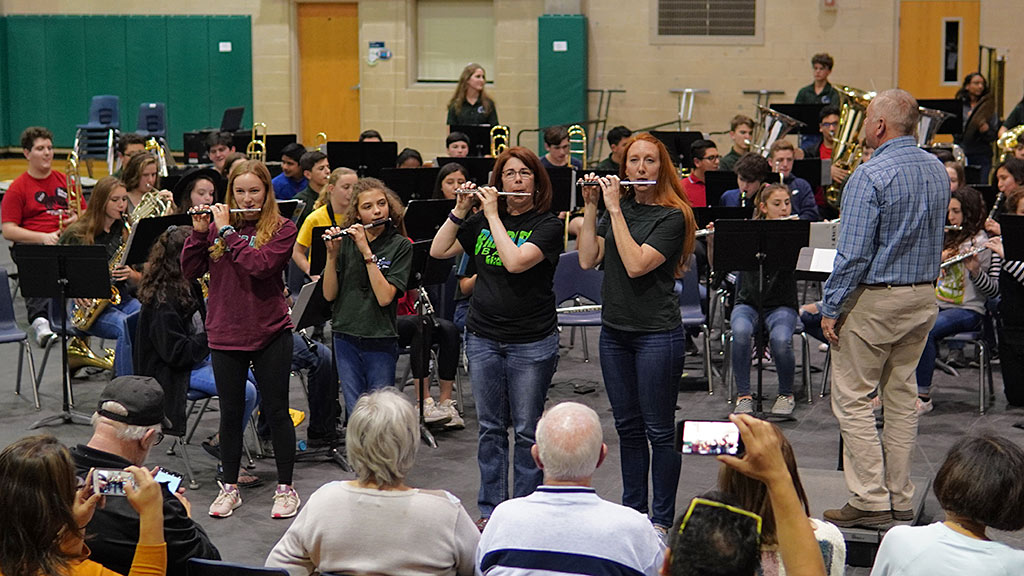 2019-04-01 Piccolos featured during the Bradley MS Honor Band with Alumni playing Stars and Stripes at Concert