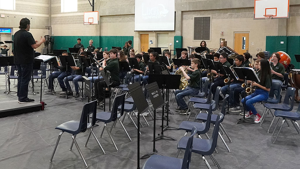 April 1, 2019 - Mr. Elizondo conducts the Symphonic Band at the Spaghetti Dinner and Alumni Concert