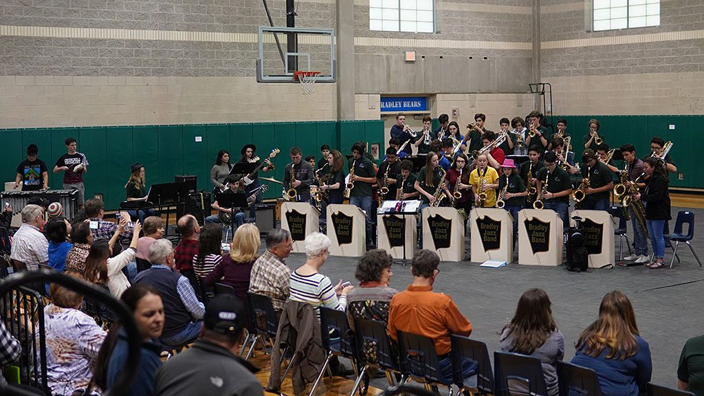 2019-04-01 Bradley MS Jazz Band 1 with alumni at Spaghetti Dinner and Alumni Concert