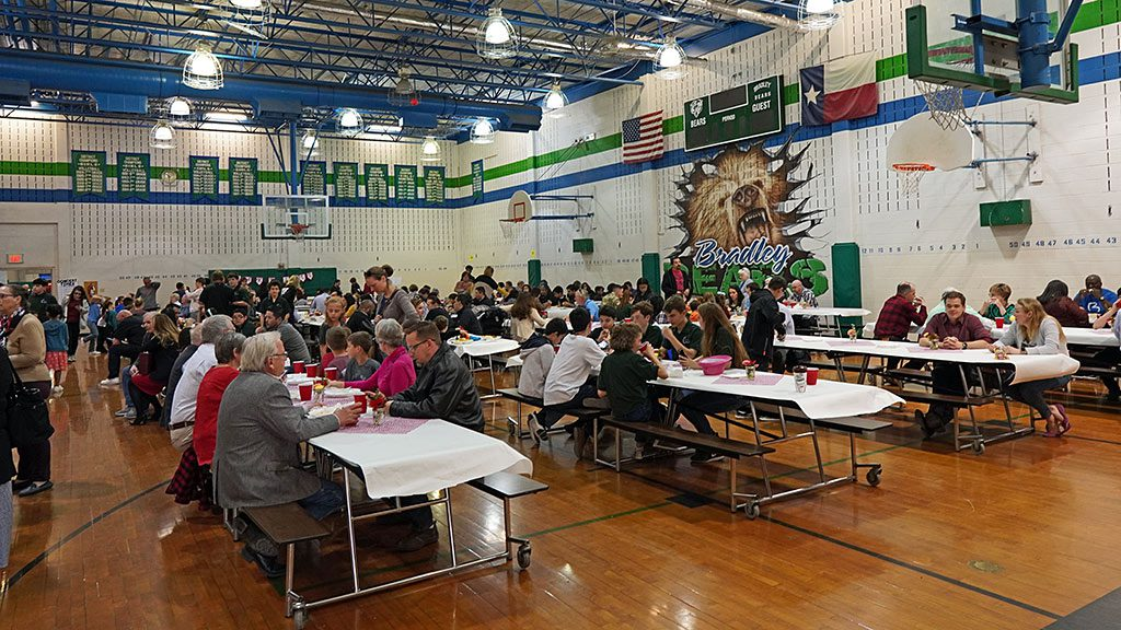 Parents and Families Enjoying the Bradley MS Spaghetti Dinner Fundraiser