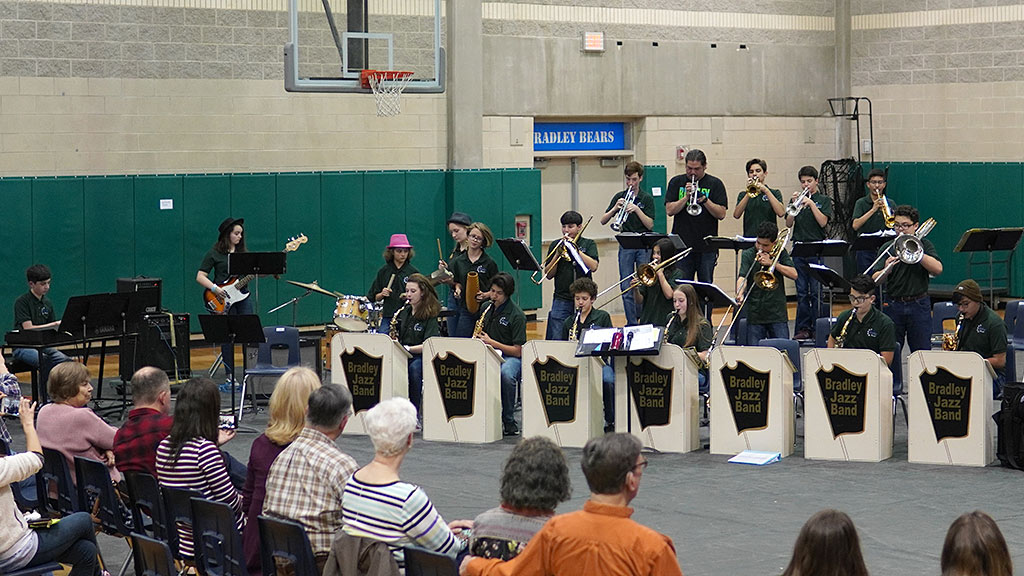 April 1, 2019 - Bradley MS Jazz Band 1 at Spaghetti Dinner and Concert. Mr. Elizondo joined the trumpet section.