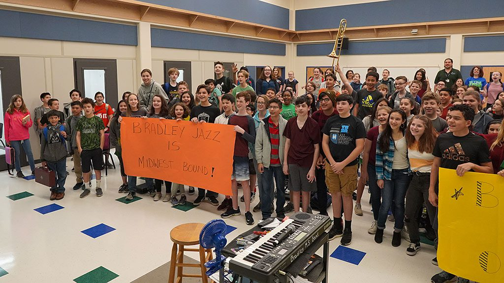 2019-04-05 Bradley MS Announcement to Jazz Band about Midwest Convention Invitation (Left half of band)